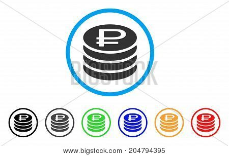 Rouble Coins Stack rounded icon. Style is a flat rouble coins stack grey symbol inside light blue circle with black, gray, green, blue, red, orange versions.