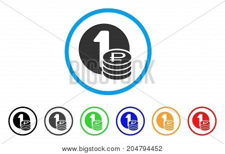 Rouble Coins rounded icon. Style is a flat rouble coins gray symbol inside light blue circle with black, gray, green, blue, red, orange versions. Vector designed for web and software interfaces.