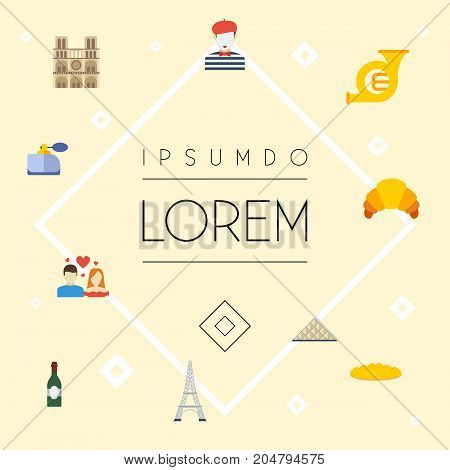 Flat Icons Trombone, Aroma, Dessert And Other Vector Elements