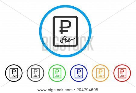 Rouble Contract rounded icon. Style is a flat rouble contract grey symbol inside light blue circle with black, gray, green, blue, red, orange color versions.