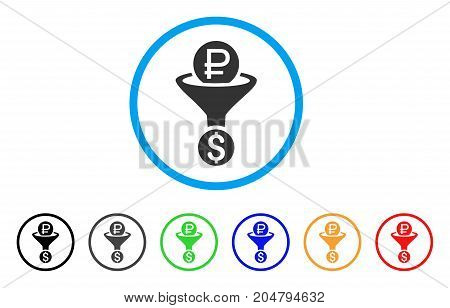 Rouble Currency Conversion rounded icon. Style is a flat rouble currency conversion grey symbol inside light blue circle with black, gray, green, blue, red, orange variants.