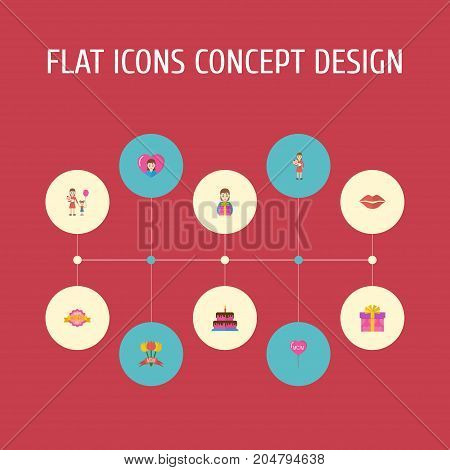 Happy Mother's Day Flat Icon Layout Design With Pastry, Design And Gift To Mom Symbols