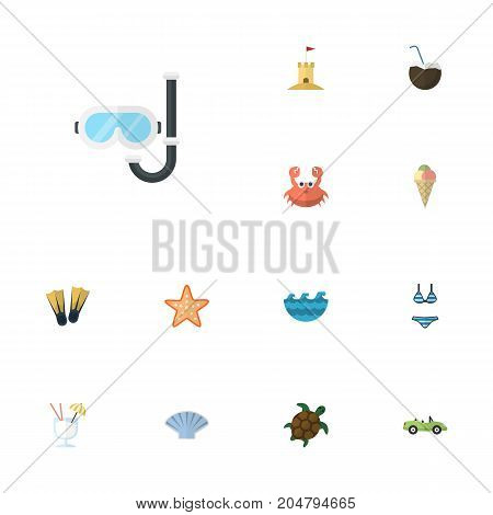 Flat Icons Conch, Swimming, Castle And Other Vector Elements