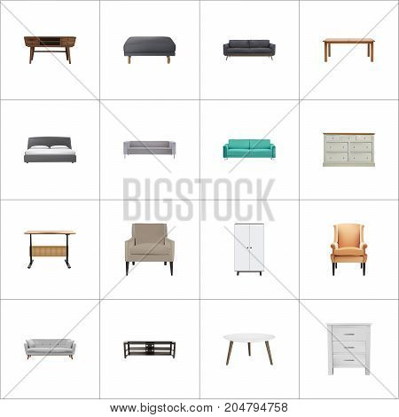 Realistic Cupboard, Wardrobe, Lounge And Other Vector Elements