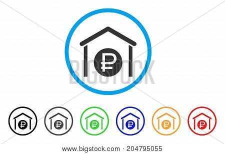Rouble Storage rounded icon. Style is a flat rouble storage grey symbol inside light blue circle with black, gray, green, blue, red, orange variants. Vector designed for web and software interfaces.
