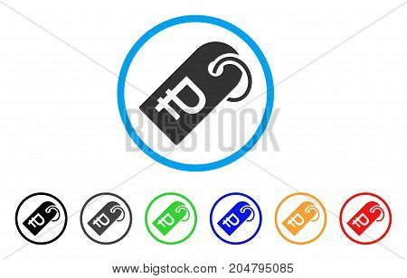 Rouble Token rounded icon. Style is a flat rouble token gray symbol inside light blue circle with black, gray, green, blue, red, orange versions. Vector designed for web and software interfaces.
