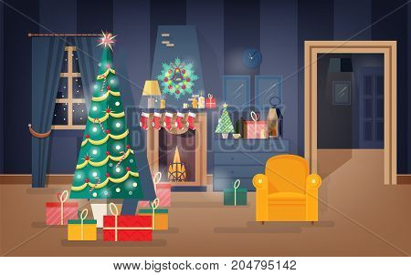 Interior of comfy living room decorated for Christmas Eve with fir tree, beautiful garlands and wreaths. Apartment full of cozy furniture and holiday home decorations. Flat vector illustration