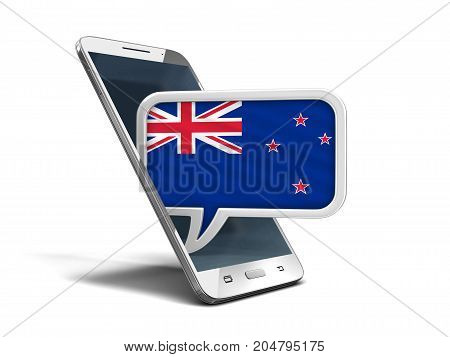 3d Illustration. Touchscreen smartphone and Speech bubble with New Zealand flag. Image with clipping path