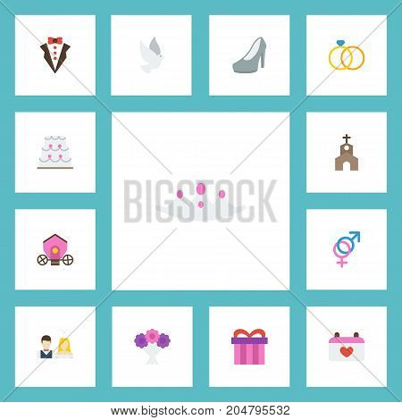Flat Icons Bridegroom Dress, Present, Building And Other Vector Elements