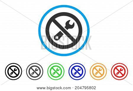 Forbidden Repair rounded icon. Style is a flat forbidden repair grey symbol inside light blue circle with black, gray, green, blue, red, orange variants.