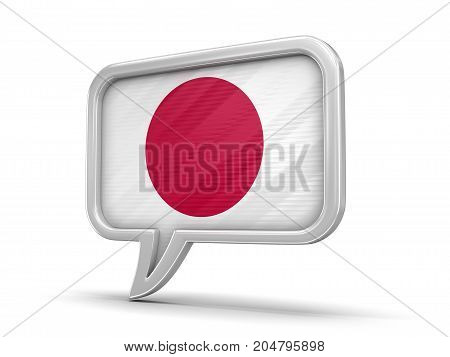 3d Illustration. Speech bubble with Japanese flag. Image with clipping path