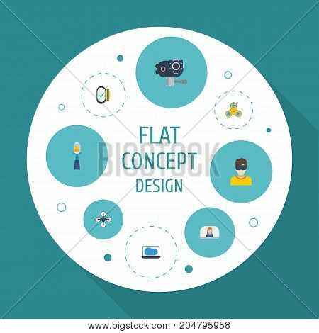 Flat Icons Camera, Laptop, Quadcopter And Other Vector Elements