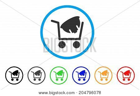 Helmet Shopping rounded icon. Style is a flat helmet shopping gray symbol inside light blue circle with black, gray, green, blue, red, orange versions. Vector designed for web and software interfaces.