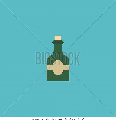Flat Icon Rum Element. Vector Illustration Of Flat Icon Bottle Isolated On Clean Background