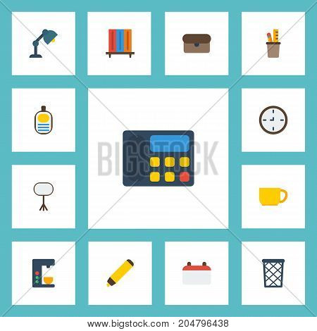 Flat Icons Board Stand, Desk Light, Bookshop Vector Elements
