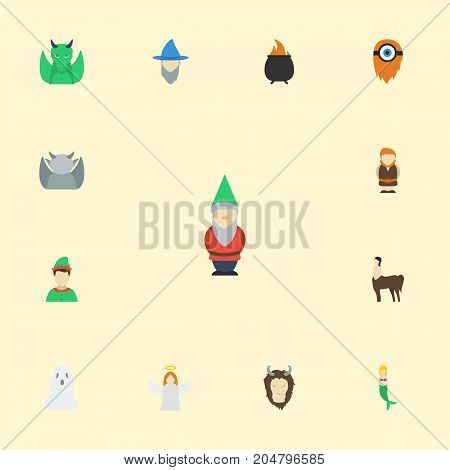 Flat Icons Evil, Dinosaur, Hell And Other Vector Elements