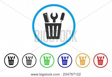 Tools Bucket rounded icon. Style is a flat tools bucket grey symbol inside light blue circle with black, gray, green, blue, red, orange color versions. Vector designed for web and software interfaces.