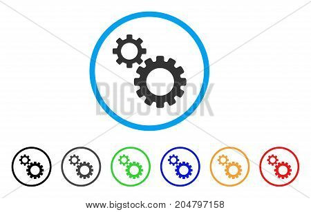 Transmission Gears rounded icon. Style is a flat transmission gears gray symbol inside light blue circle with black, gray, green, blue, red, orange color versions.