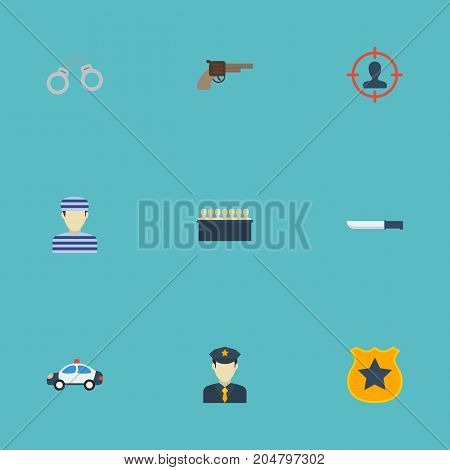 Flat Icons Manacles, Bayonet, Officer Emblem And Other Vector Elements