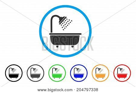 Bath Shower rounded icon. Style is a flat bath shower gray symbol inside light blue circle with black, gray, green, blue, red, orange variants. Vector designed for web and software interfaces.