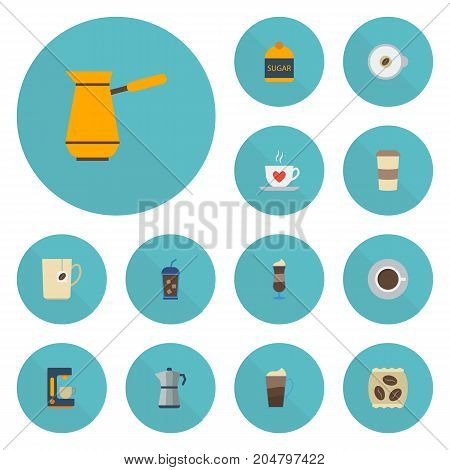 Flat Icons Mocha, Sweetener, Latte And Other Vector Elements