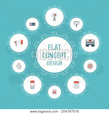 Flat Icons Customer Summary, Placard, Building And Other Vector Elements