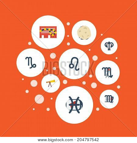 Flat Icons Fishes, Zodiac Sign, Ram And Other Vector Elements