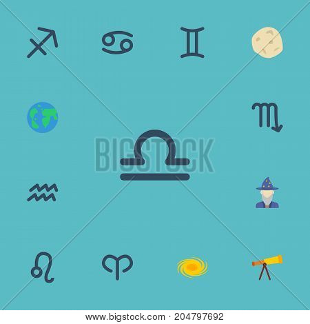 Flat Icons Scales, Space, Ram And Other Vector Elements