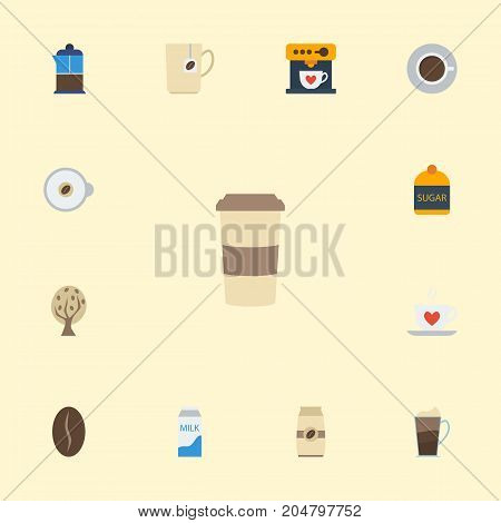 Flat Icons French Press, Cappuccino, Arabica Bean And Other Vector Elements