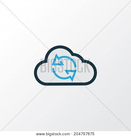 Premium Quality Isolated Cloud Element In Trendy Style.  Synchronize Colorful Outline Symbol.