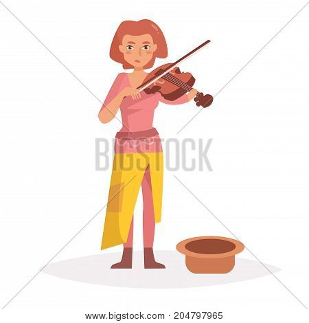Woman plays the violin, begging. Vector. Cartoon. Isolated art on white background. Flat