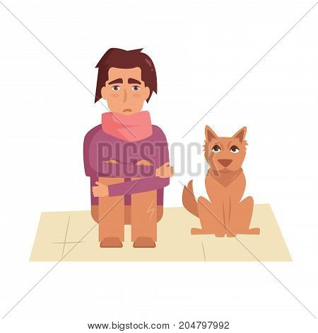 Homeless with a dog. Vector. Cartoon. Isolated art on white background. Flat