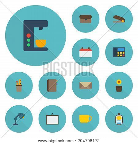 Flat Icons Letter, Plant Pot, Pen Holder And Other Vector Elements