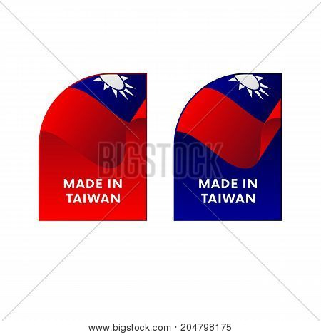 Stickers Made in Taiwan. Waving flag. Vector illustration.