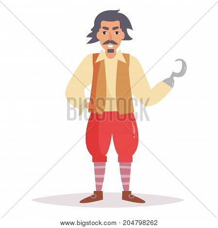 Pirate with hook. Vector. Cartoon. Isolated art on white background. Flat