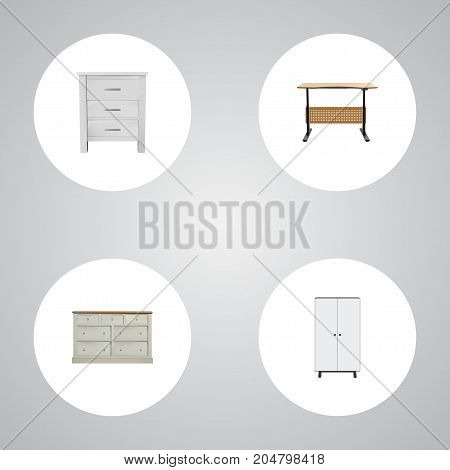 Realistic Cupboard, Wardrobe, Commode And Other Vector Elements
