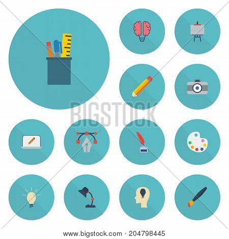 Flat Icons Idea, Photo, Concept And Other Vector Elements