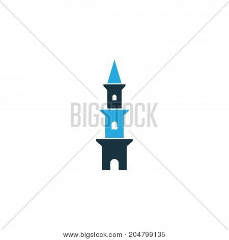Premium Quality Isolated Minaret Element In Trendy Style.  Tower Colorful Icon Symbol.