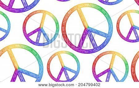 Seamless texture with rainbow symbol of peace and a boho pattern on a white background. Vector element for fabrics wallpaper wrapping paper and your creativity