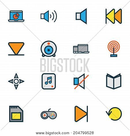 Media Colorful Outline Icons Set. Collection Of Finish, File, Refresh And Other Elements