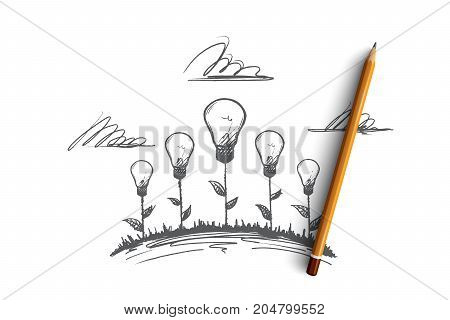 Creative work concept. Hand drawn creative illustrations of flowers. The birth of an idea. Incandescent lamp the symbol of creative idea isolated vector illustration.