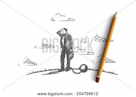 Debt concept. Hand drawn businessman chained to a large ball. Man in financial trouble isolated vector illustration.