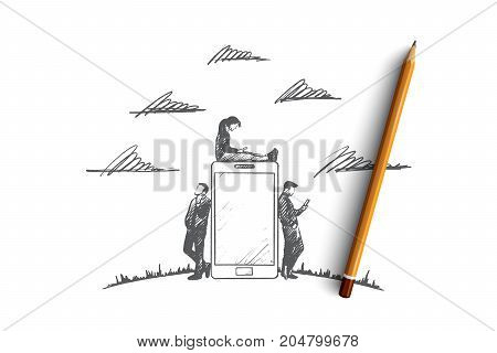 Gadgets time concept. Hand drawn people with gadgets. Men and women using smartphone and tablet. People browsing internet isolated vector illustration.