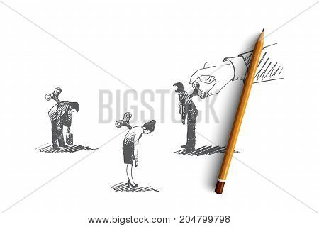 Motivation concept. Hand drawn people who need motivation. One man motivate another isolated vector illustration.