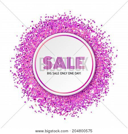 Paper Circle with pink glitter particles and shine. Realistic vector template for sale and promo advertising