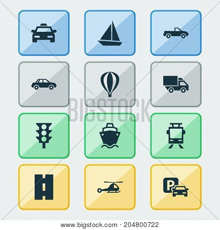 Transport Icons Set. Collection Of Tanker, Automobile, Cabriolet And Other Elements