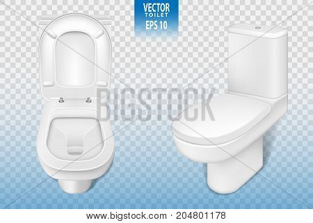 Realistic toilet mockup closeup, white modern toilet in 3d illustration isolated on transparent background. Vector EPS 10