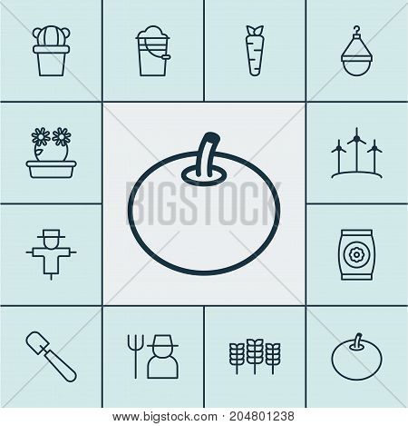 Gardening Icons Set. Collection Of Windmill, Fertilizer, Bucket And Other Elements