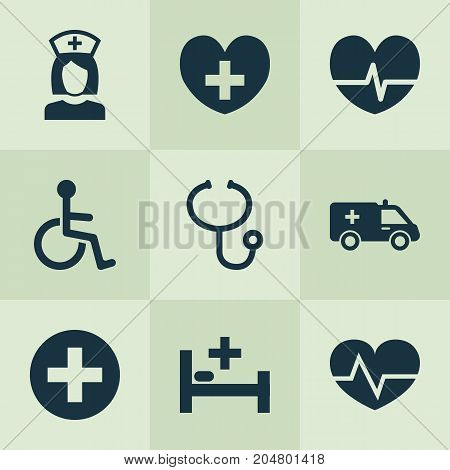 Drug Icons Set. Collection Of Review, Disabled, Beating And Other Elements