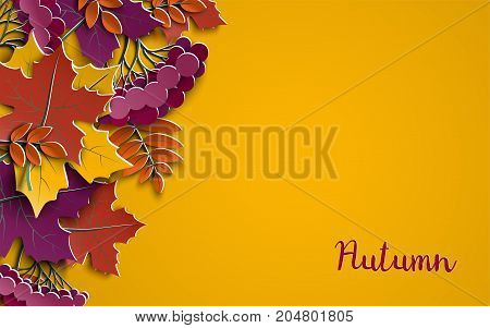 Autumn floral paper background with colorful tree leaves on yellow background design elements for the fall season banner poster flyer or greeting card paper cut out art style vector illustration